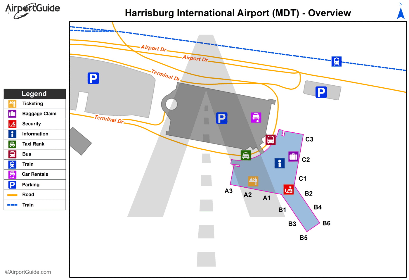 Harrisburg - Pottstown Municipal (MDT) Airport Terminal Map - Overview