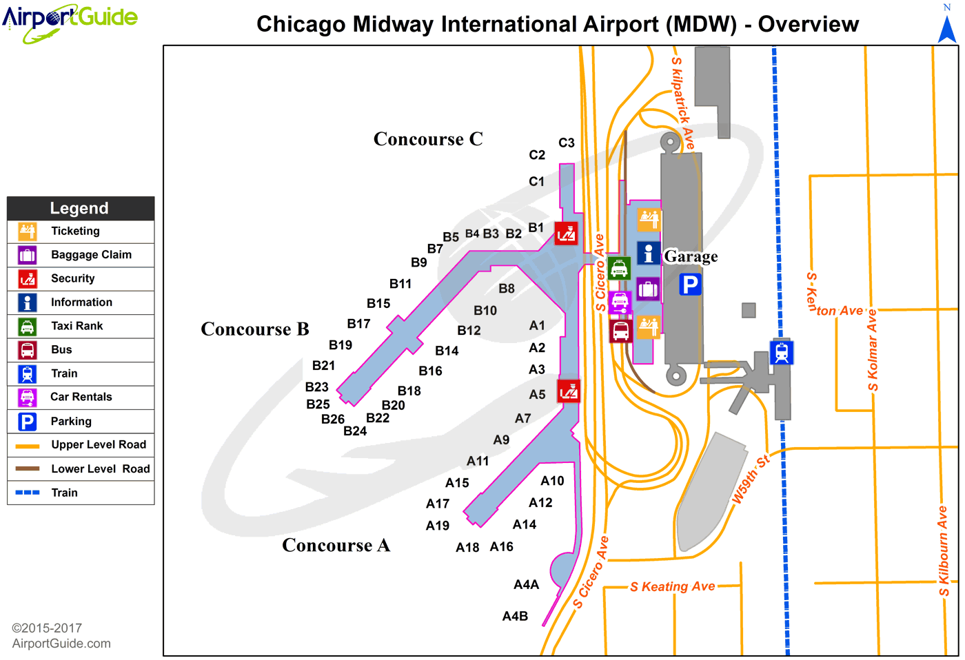Chicago - Chicago Midway International (MDW) Airport Terminal Map - Overview