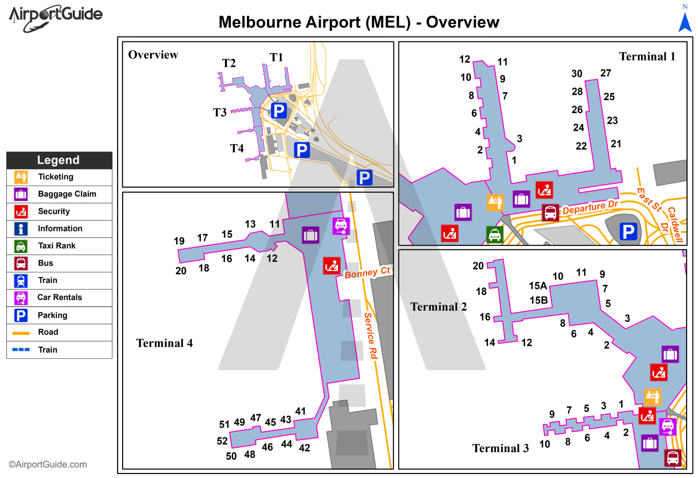 Melbourne - Melbourne International (MEL) Airport Terminal Map - Overview