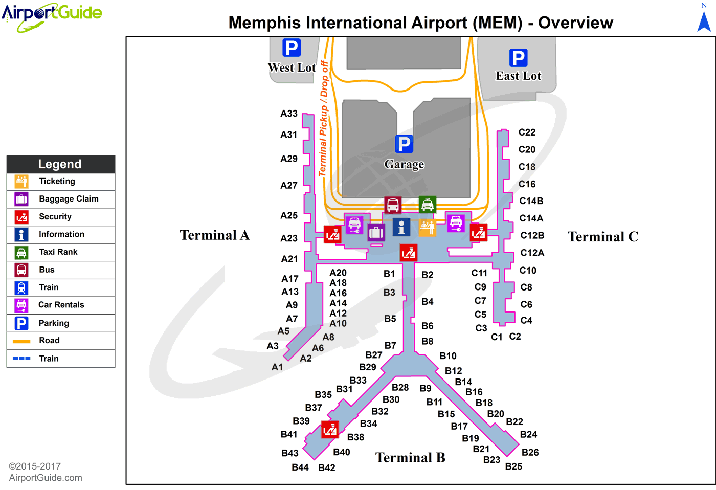 Memphis - Memphis International (MEM) Airport Terminal Map - Overview
