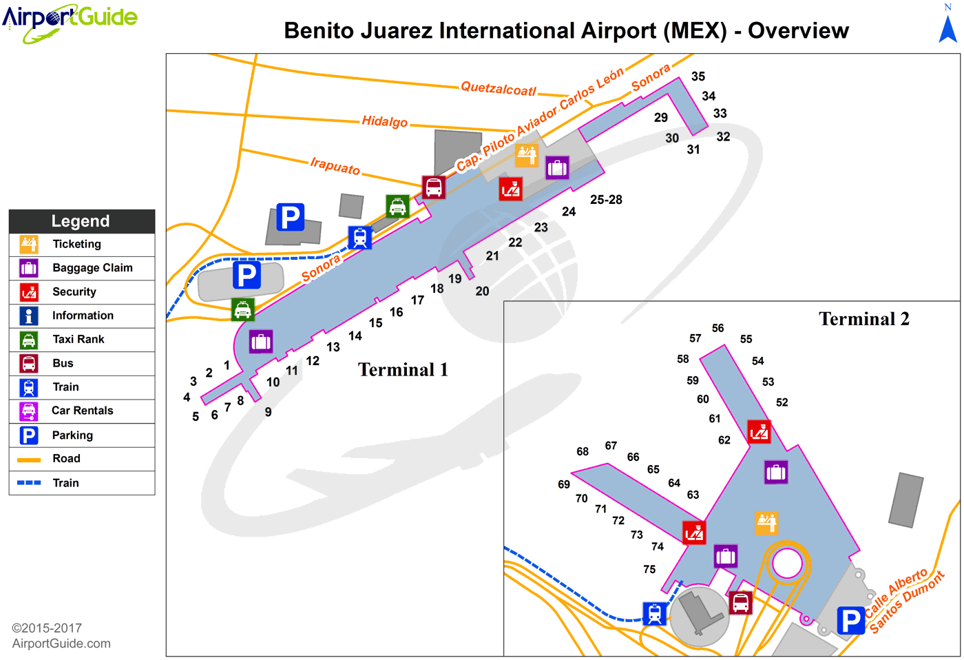 Mexico City - Licenciado Benito Juarez International (MEX) Airport Terminal Map - Overview