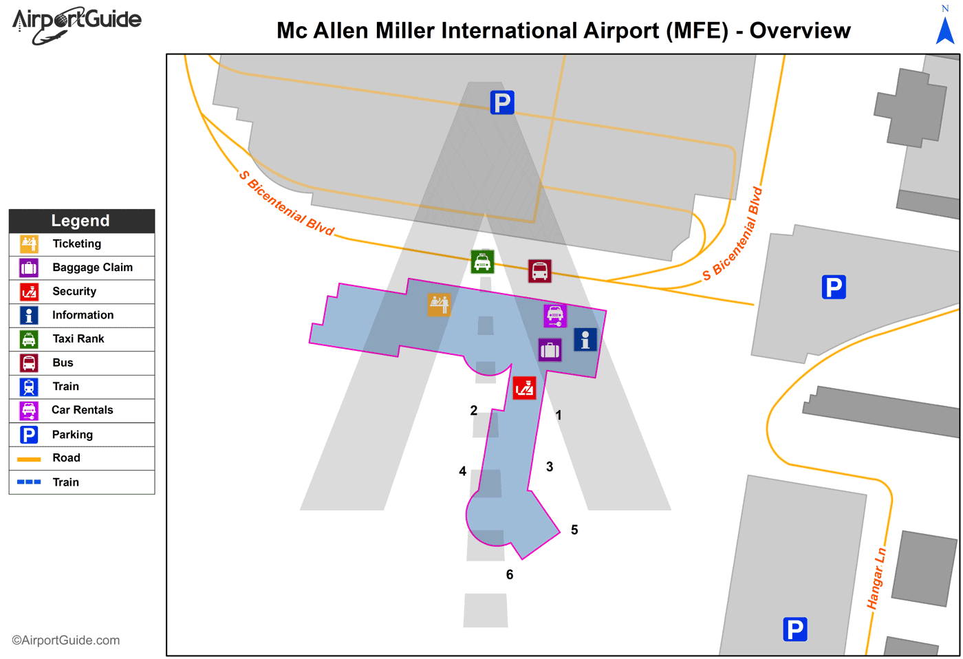 Mc Allen - Mc Allen Miller International (MFE) Airport Terminal Map - Overview