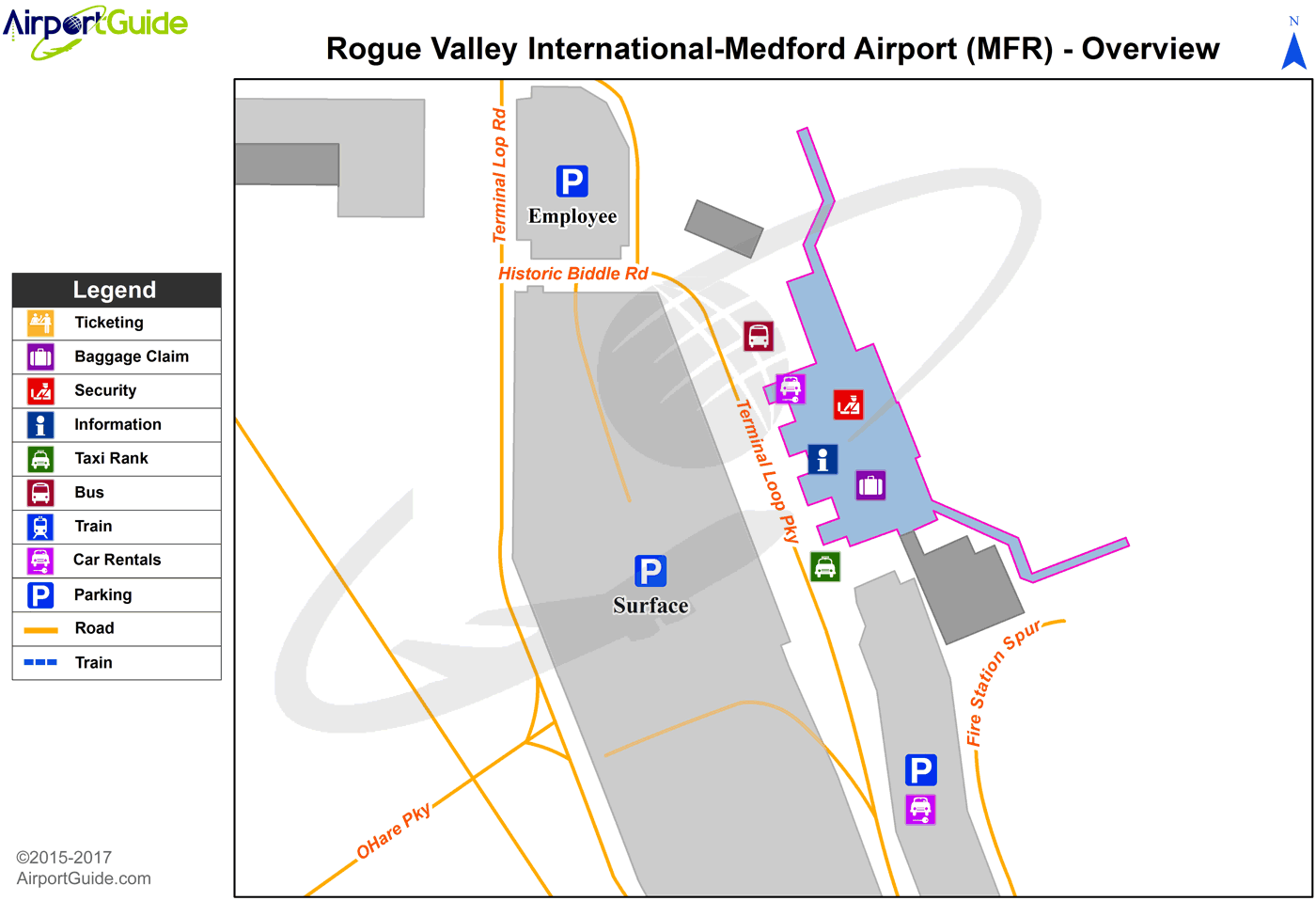 Medford - Hobby Field (MFR) Airport Terminal Map - Overview
