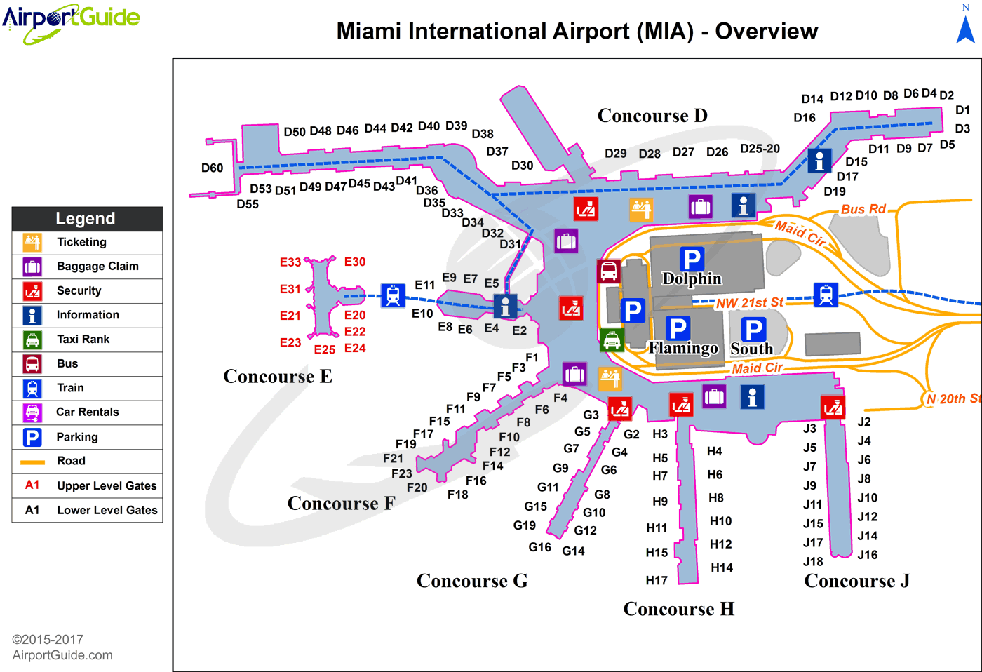 Miami - Miami International (MIA) Airport Terminal Map - Overview
