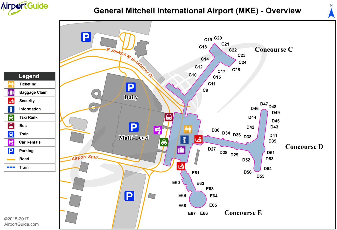 Milwaukee - General Mitchell International (MKE) Airport Terminal Map - Overview
