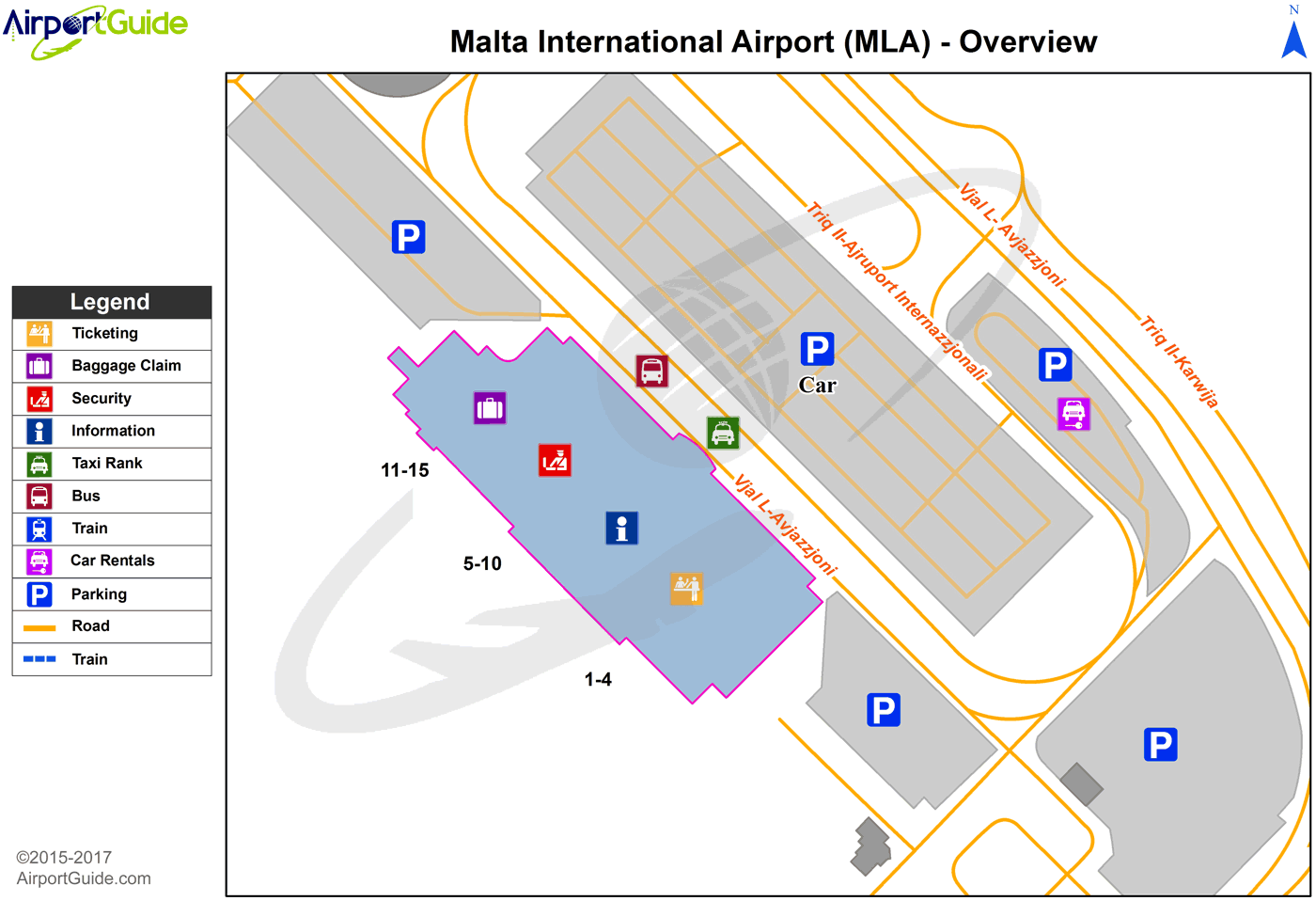 Luqa - Malta International (MLA) Airport Terminal Map - Overview
