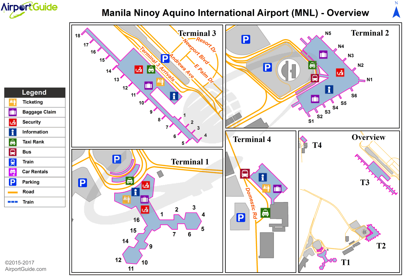 Manila - Ninoy Aquino International (MNL) Airport Terminal Map - Overview