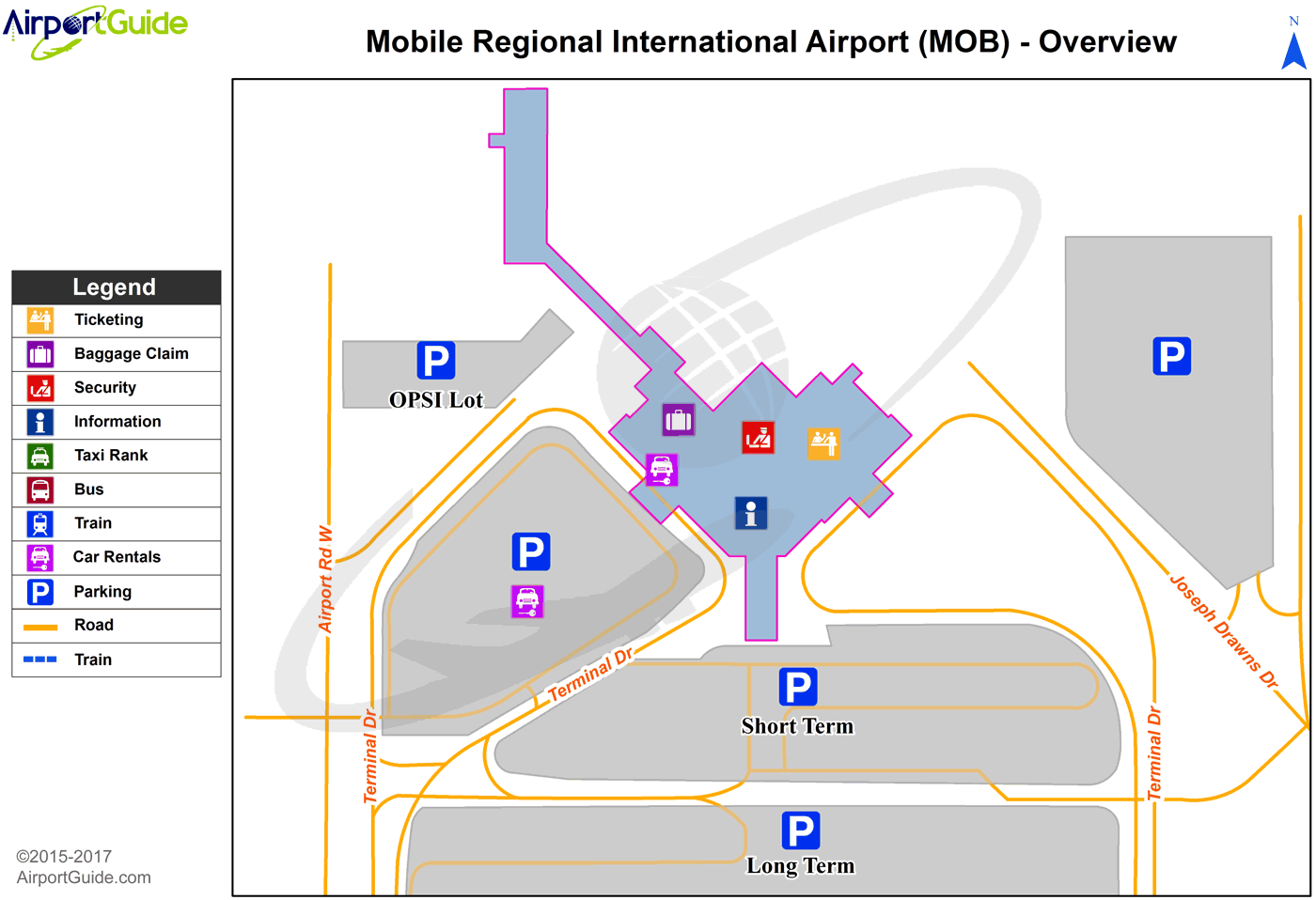 Mobile - Mobile Regional (MOB) Airport Terminal Map - Overview