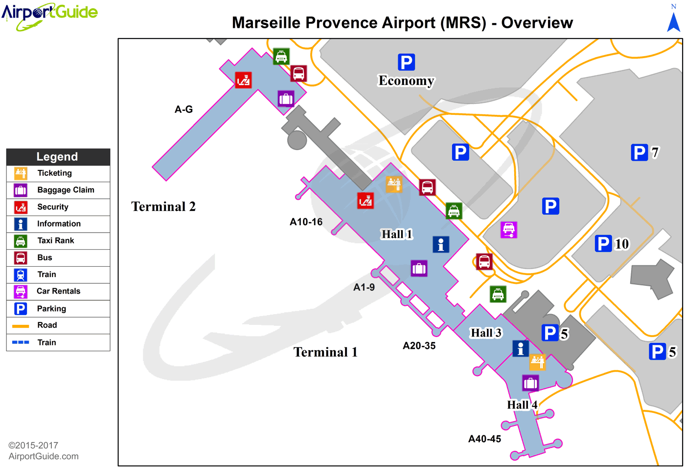 Marseille - Marseille Provence (MRS) Airport Terminal Map - Overview