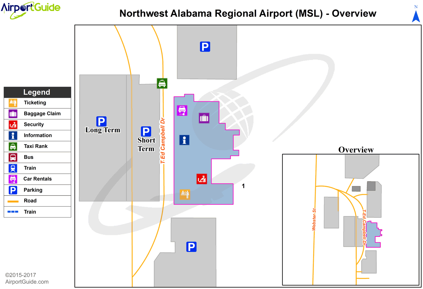Muscle Shoals - Northwest Alabama Regional (MSL) Airport Terminal Map - Overview