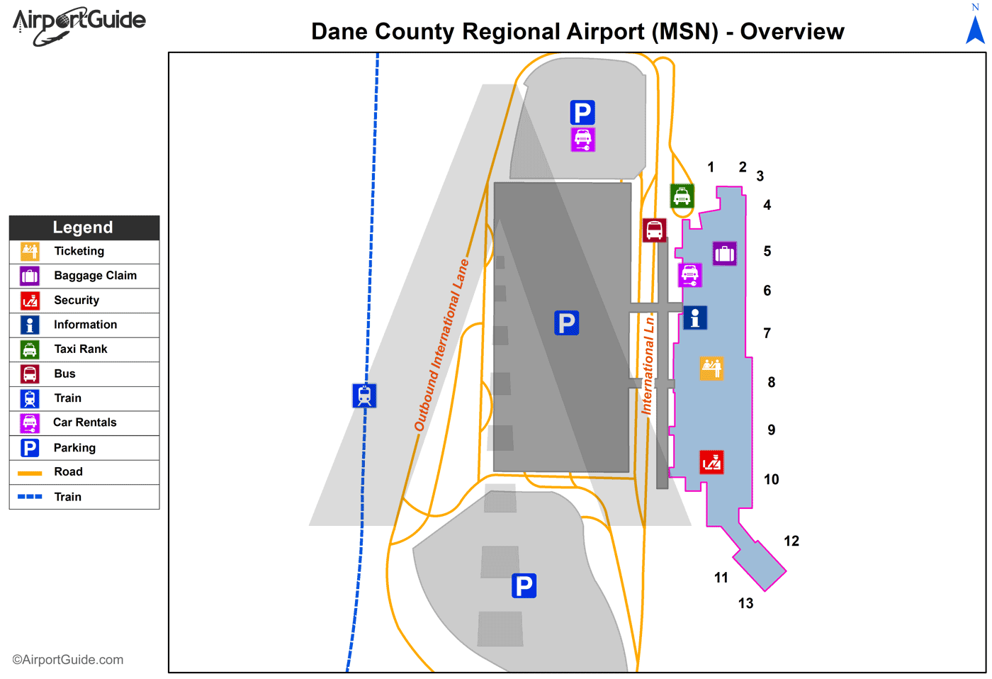 Madison - Dane County Regional-Truax Field (MSN) Airport Terminal Map - Overview