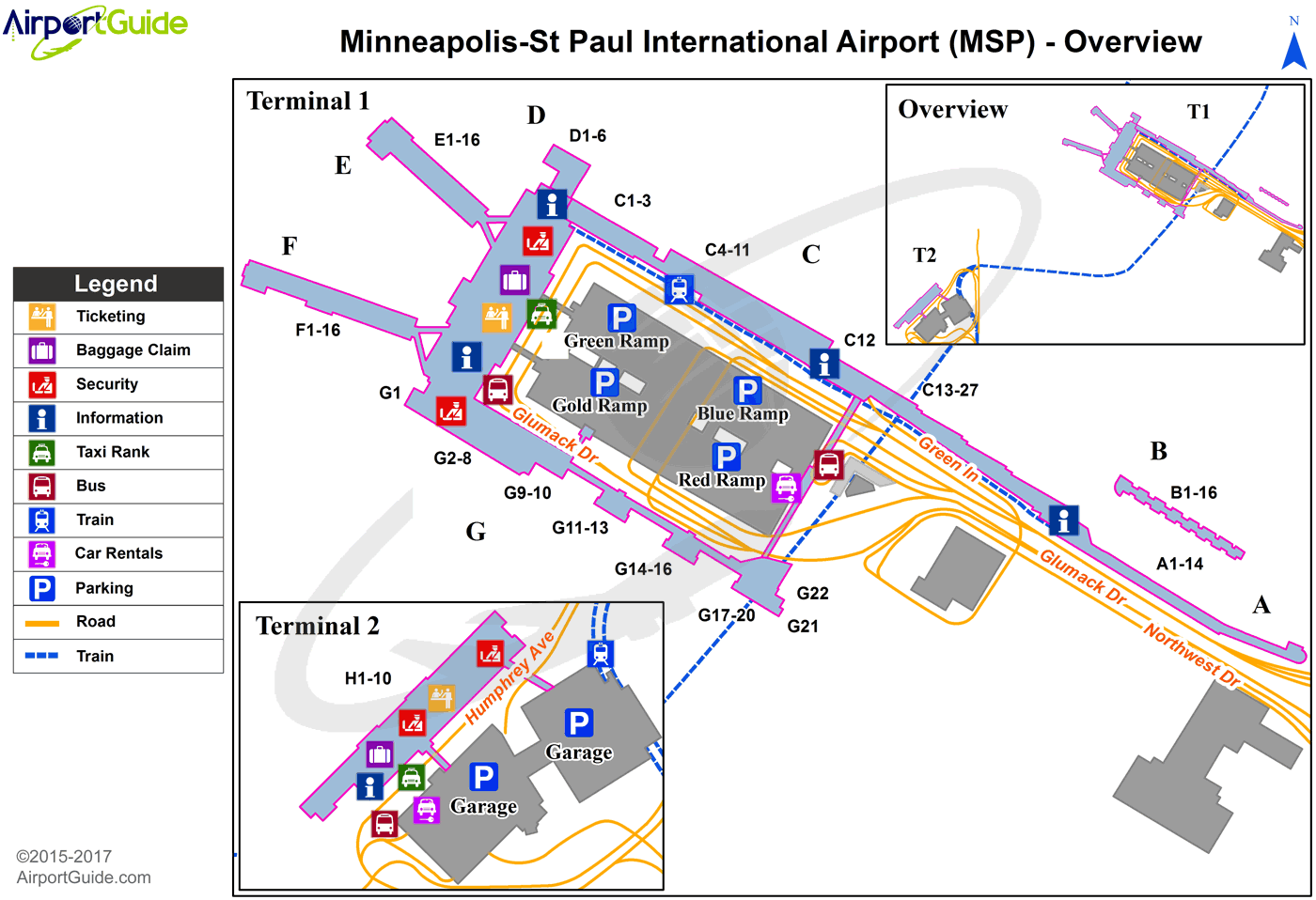 Minneapolis - Minneapolis-St Paul International/Wold-Chamberlain (MSP) Airport Terminal Map - Overview