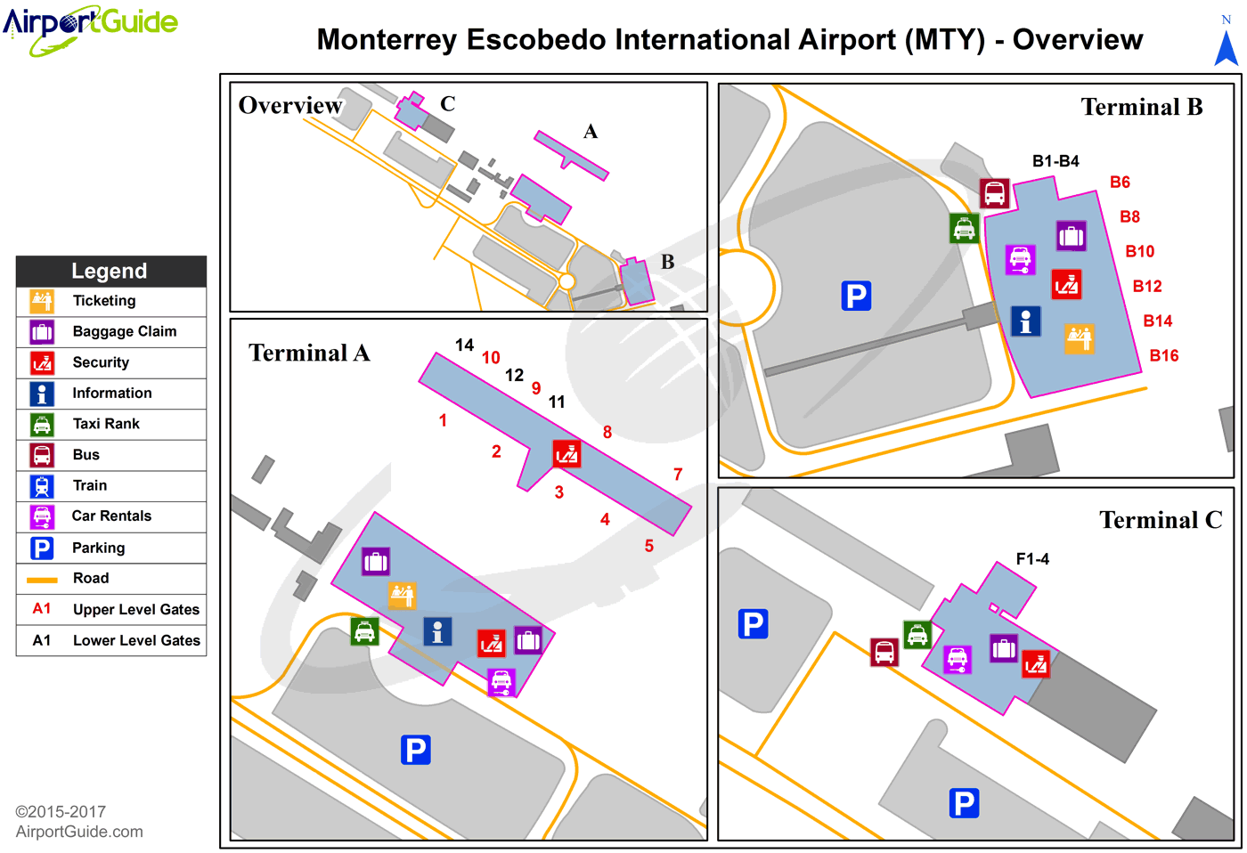 Monterrey - General Mariano Escobedo International (MTY) Airport Terminal Map - Overview