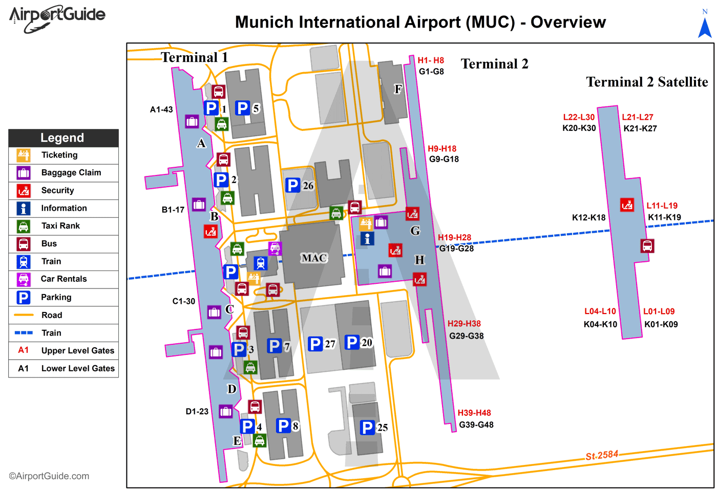 Munich - Munich International (MUC) Airport Terminal Map - Overview