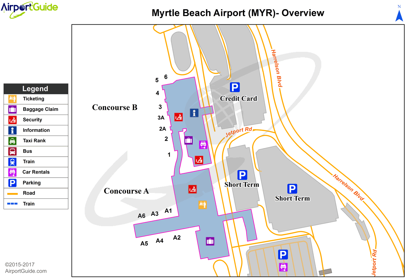Myrtle Beach - Myrtle Beach International (MYR) Airport Terminal Map - Overview