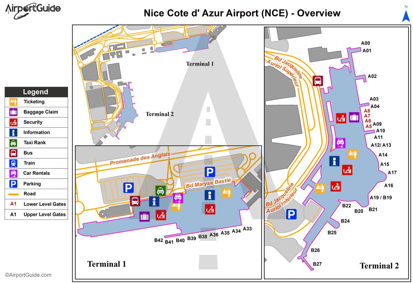 Nice - Nice-Côte d'Azur (NCE) Airport Terminal Map - Overview