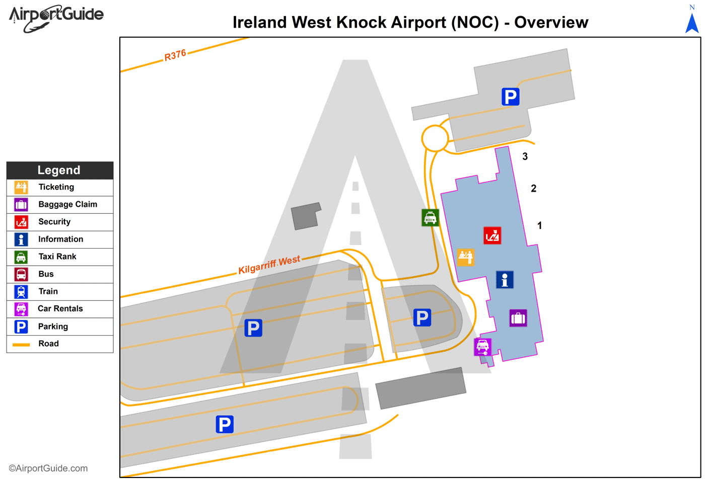 Charleston - Ireland West Knock (NOC) Airport Terminal Map - Overview