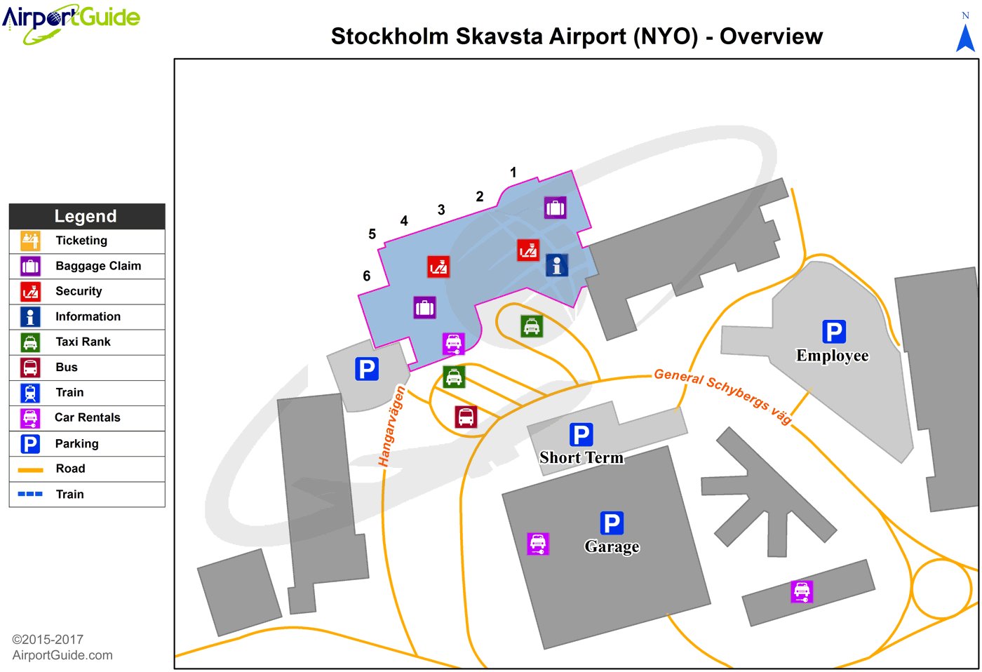 Stockholm / Nyköping - Stockholm Skavsta (NYO) Airport Terminal Map - Overview