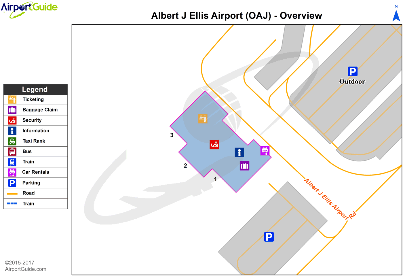 Jacksonville - Albert J Ellis (OAJ) Airport Terminal Map - Overview