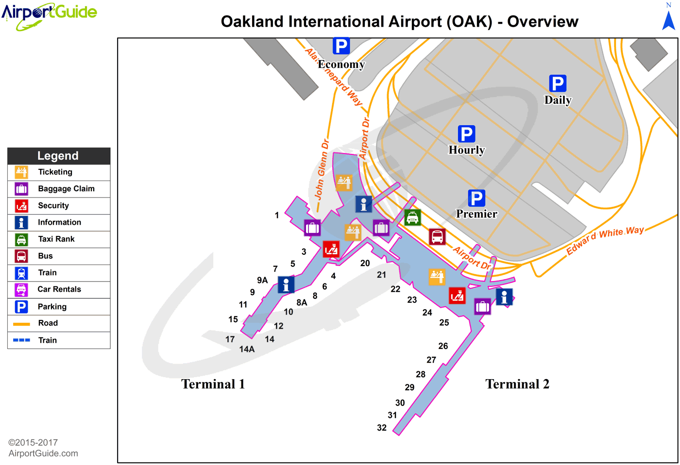 Oakland - Metropolitan Oakland International (OAK) Airport Terminal Map - Overview