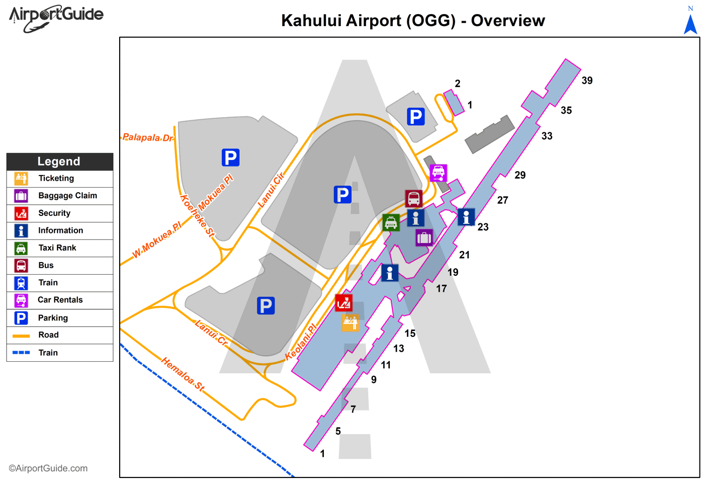 Kahului - Kahului (OGG) Airport Terminal Map - Overview