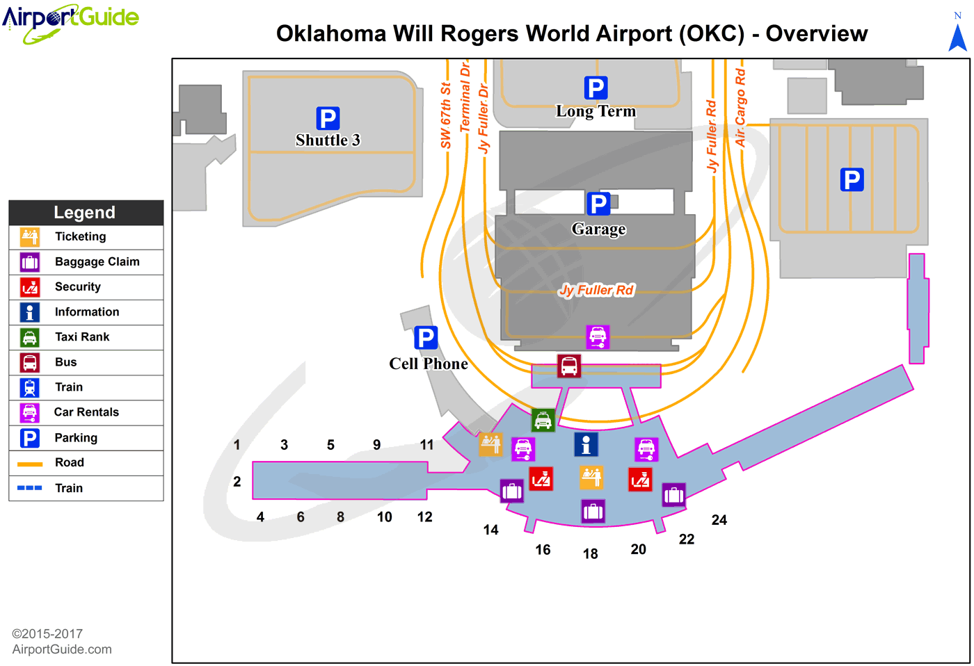Oklahoma City - Will Rogers World (OKC) Airport Terminal Map - Overview