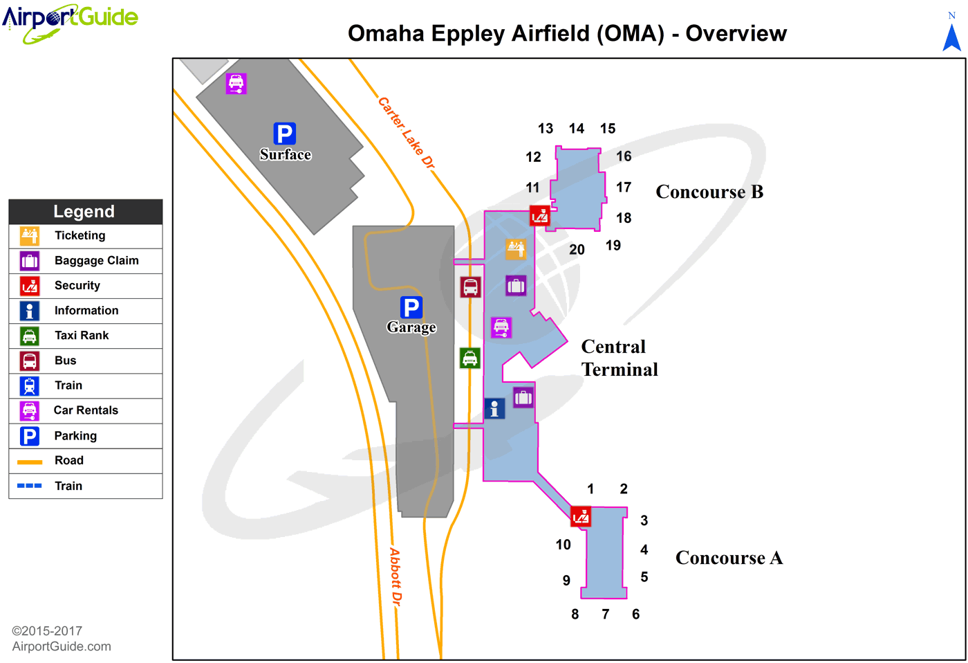 Omaha - Eppley Airfield (OMA) Airport Terminal Map - Overview