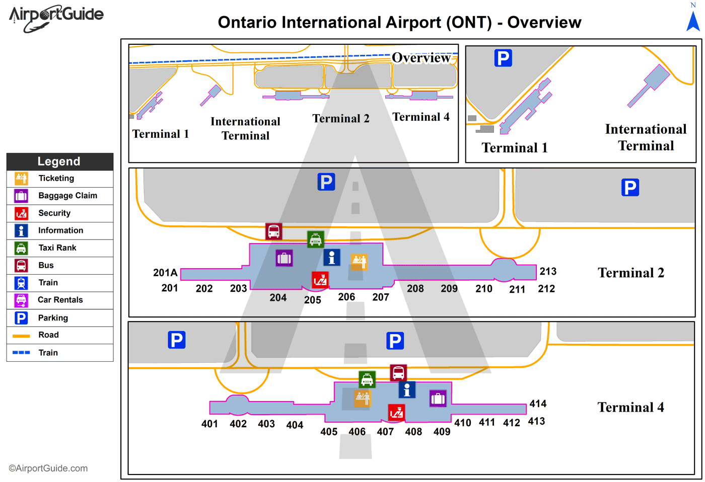 Ontario - Ontario International (ONT) Airport Terminal Map - Overview