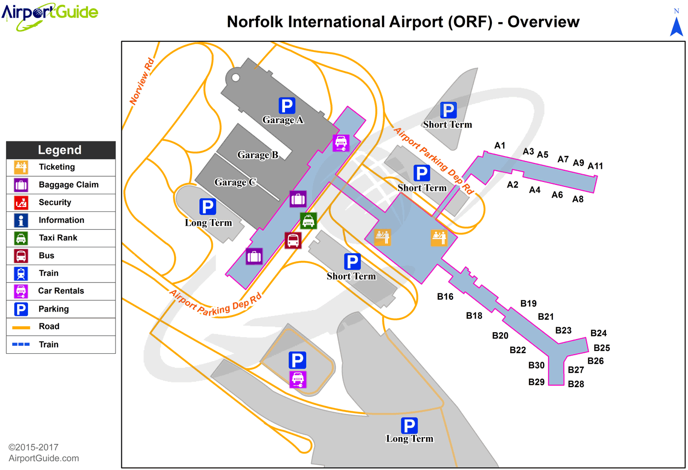 Norfolk - Norfolk International (ORF) Airport Terminal Map - Overview