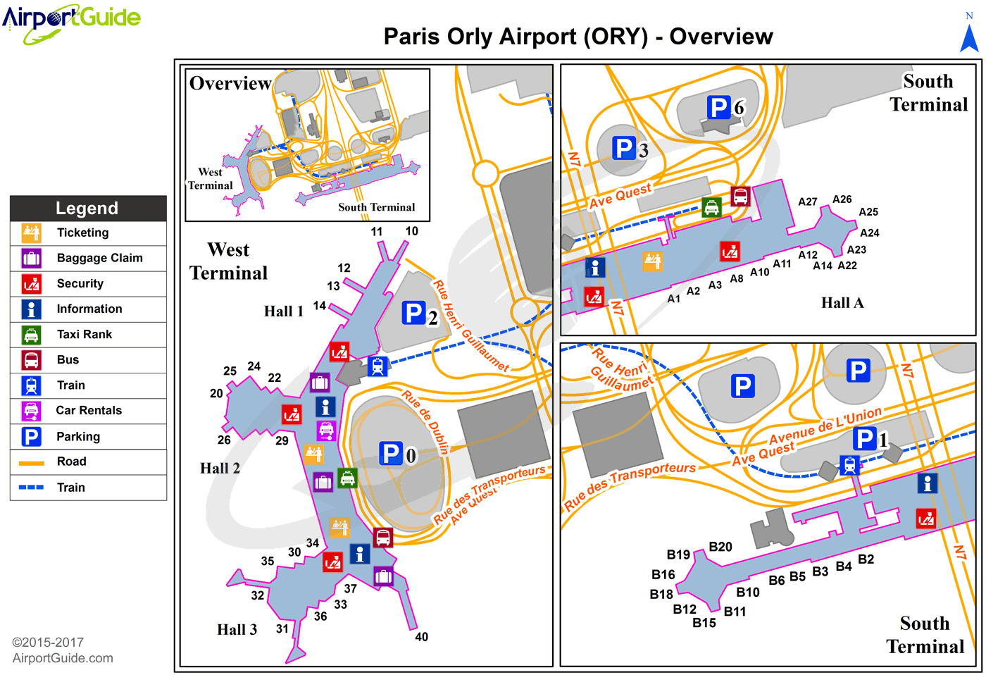 Paris - Paris-Orly (ORY) Airport Terminal Map - Overview