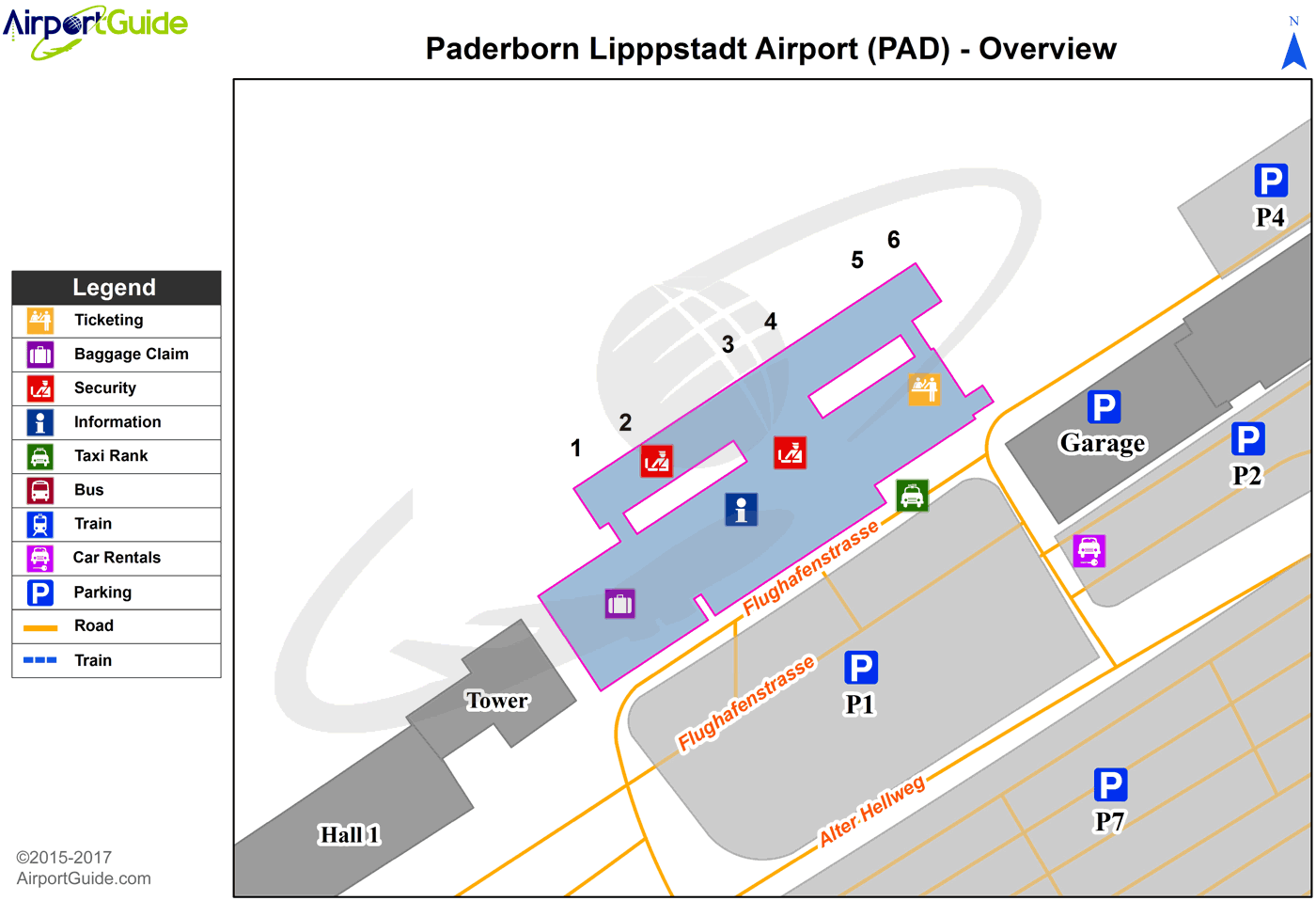 Paderborn - Paderborn Lippstadt (PAD) Airport Terminal Map - Overview