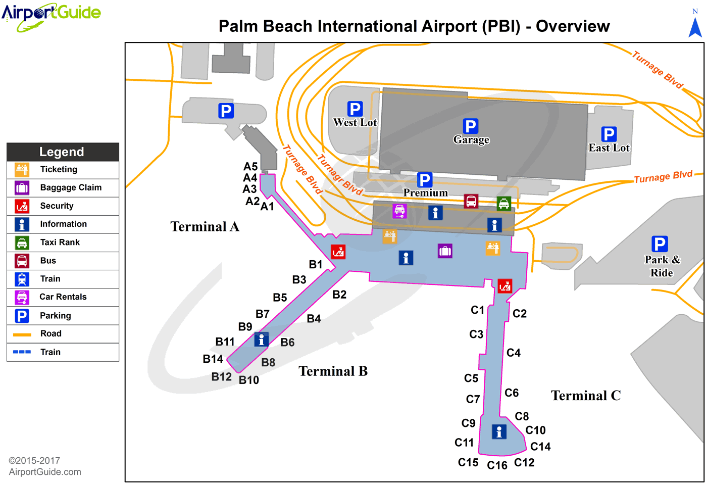 West Palm Beach - Palm Beach International (PBI) Airport Terminal Map - Overview