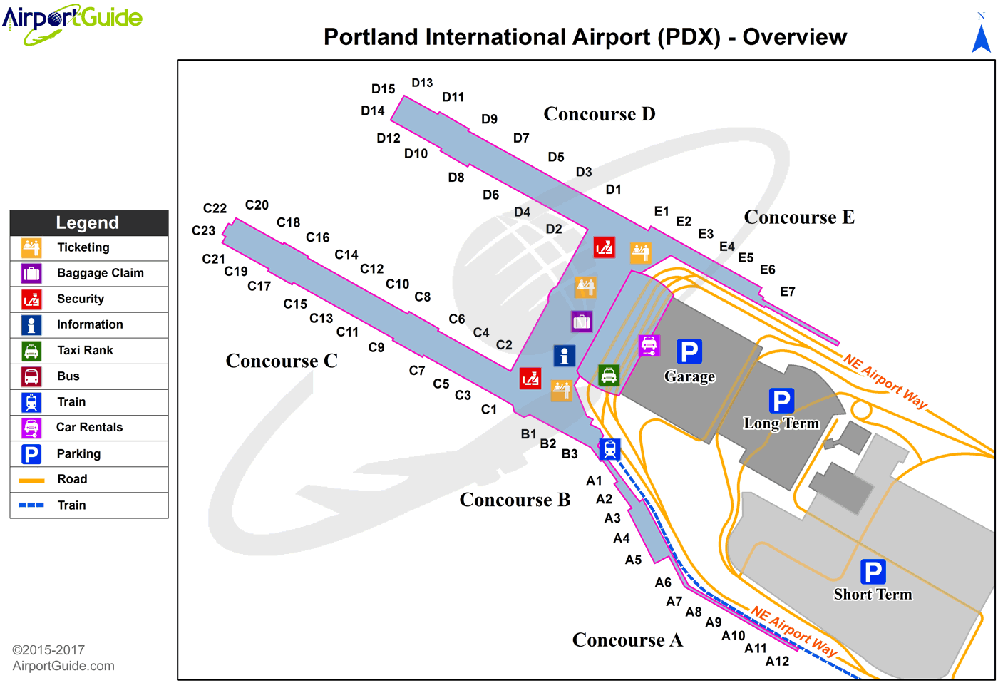 Portland - Portland International (PDX) Airport Terminal Map - Overview