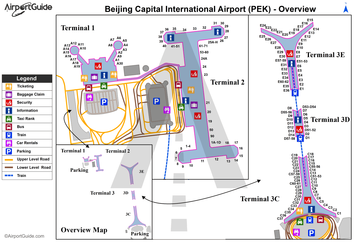 Beijing - Beijing Capital International (PEK) Airport Terminal Map - Overview