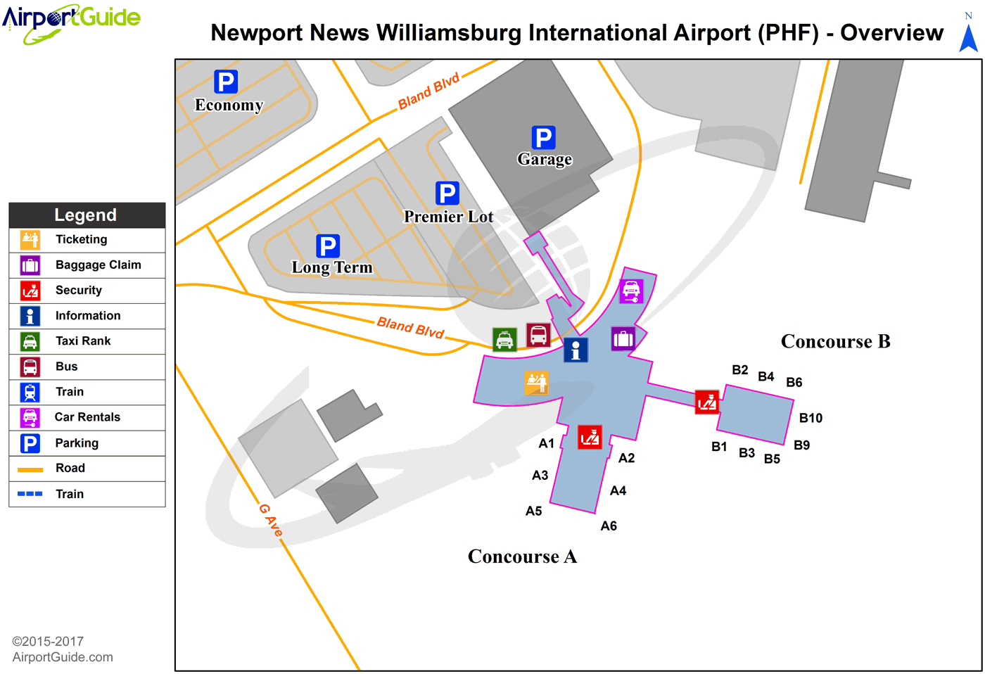 Newport News - Newport News/Williamsburg International (PHF) Airport Terminal Map - Overview