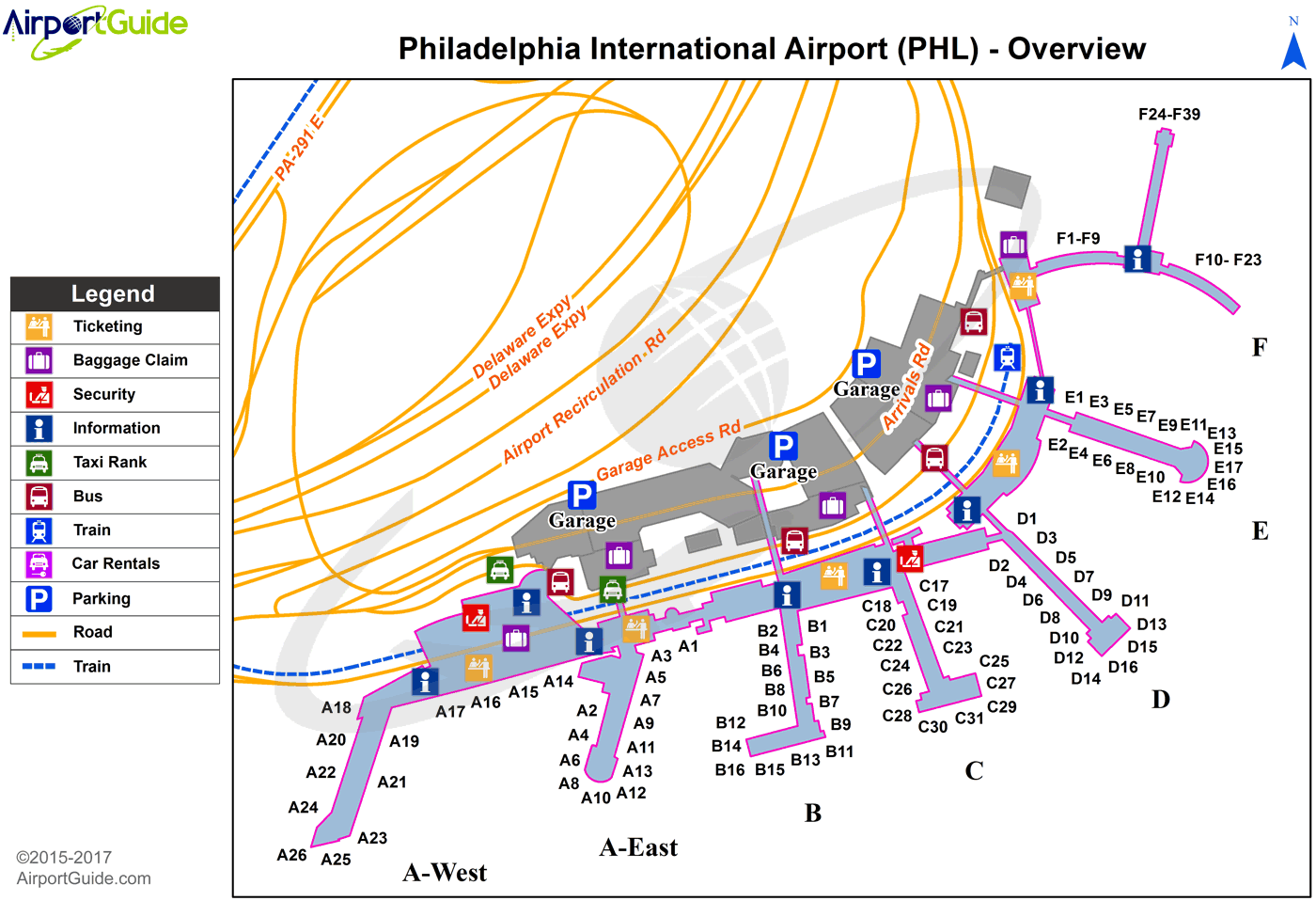Philadelphia - Philadelphia International (PHL) Airport Terminal Map - Overview