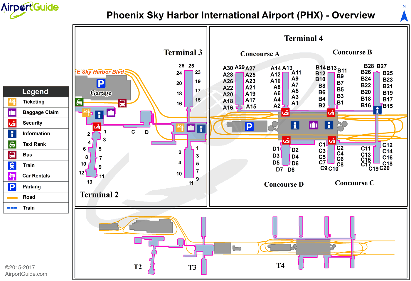 Phoenix - Phoenix Sky Harbor International (PHX) Airport Terminal Map - Overview