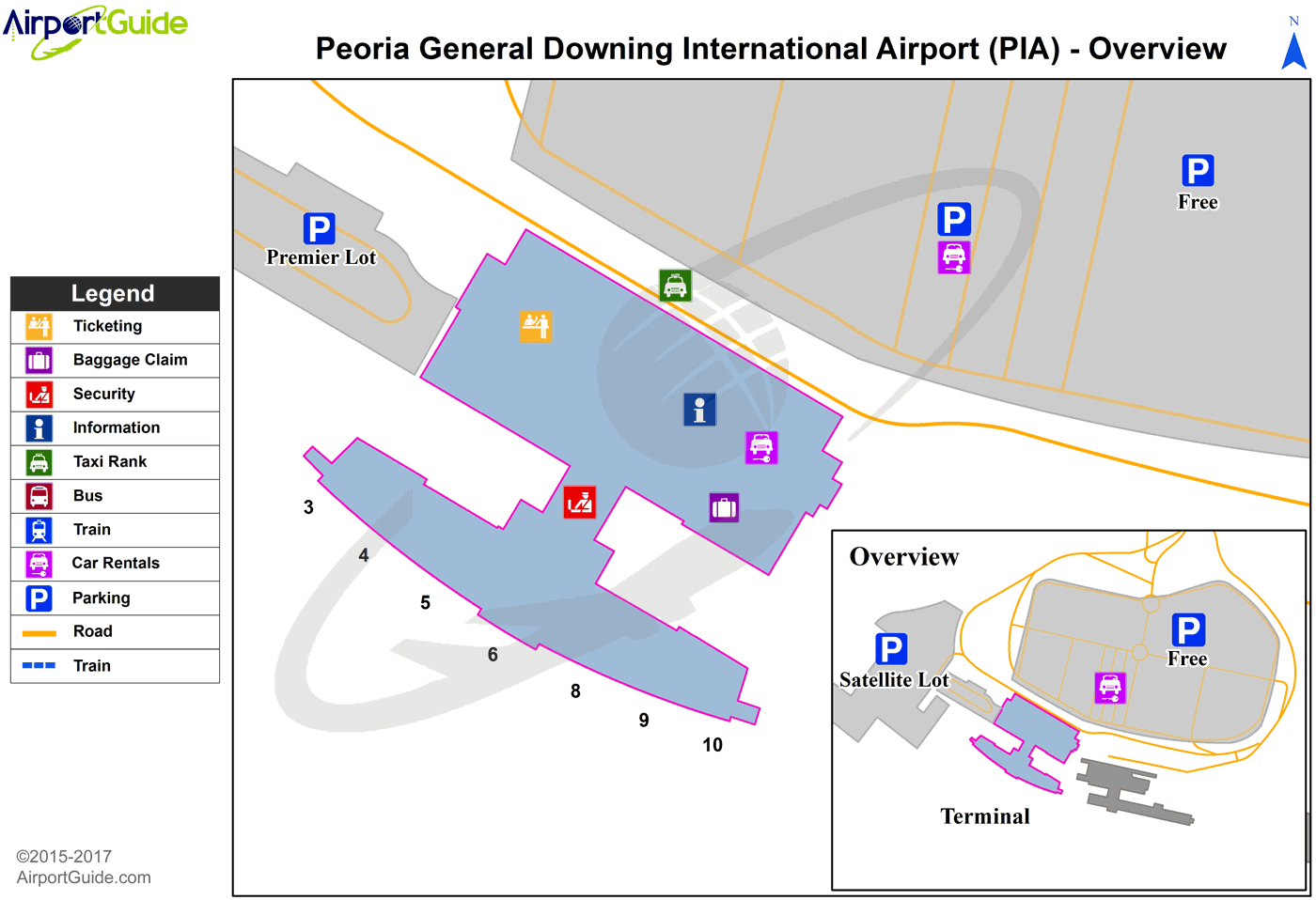 Peoria - General Downing - Peoria International (PIA) Airport Terminal Map - Overview