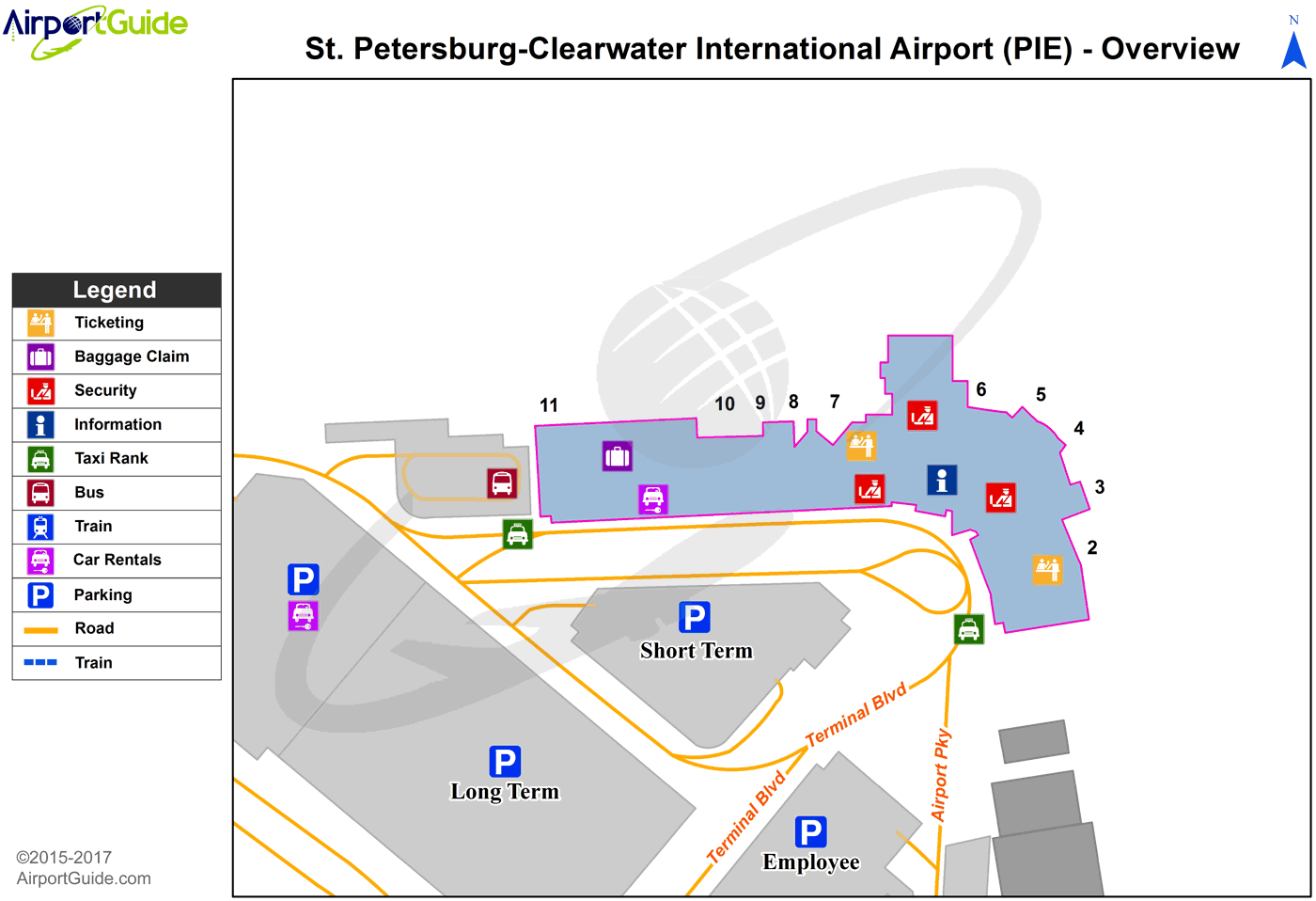 St Petersburg-Clearwater - St Pete-Clearwater International (PIE) Airport Terminal Map - Overview