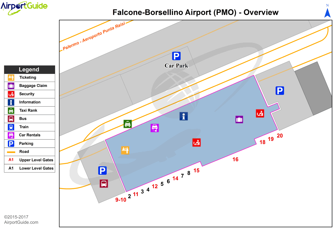 Palermo - Falcone–Borsellino (PMO) Airport Terminal Map - Overview