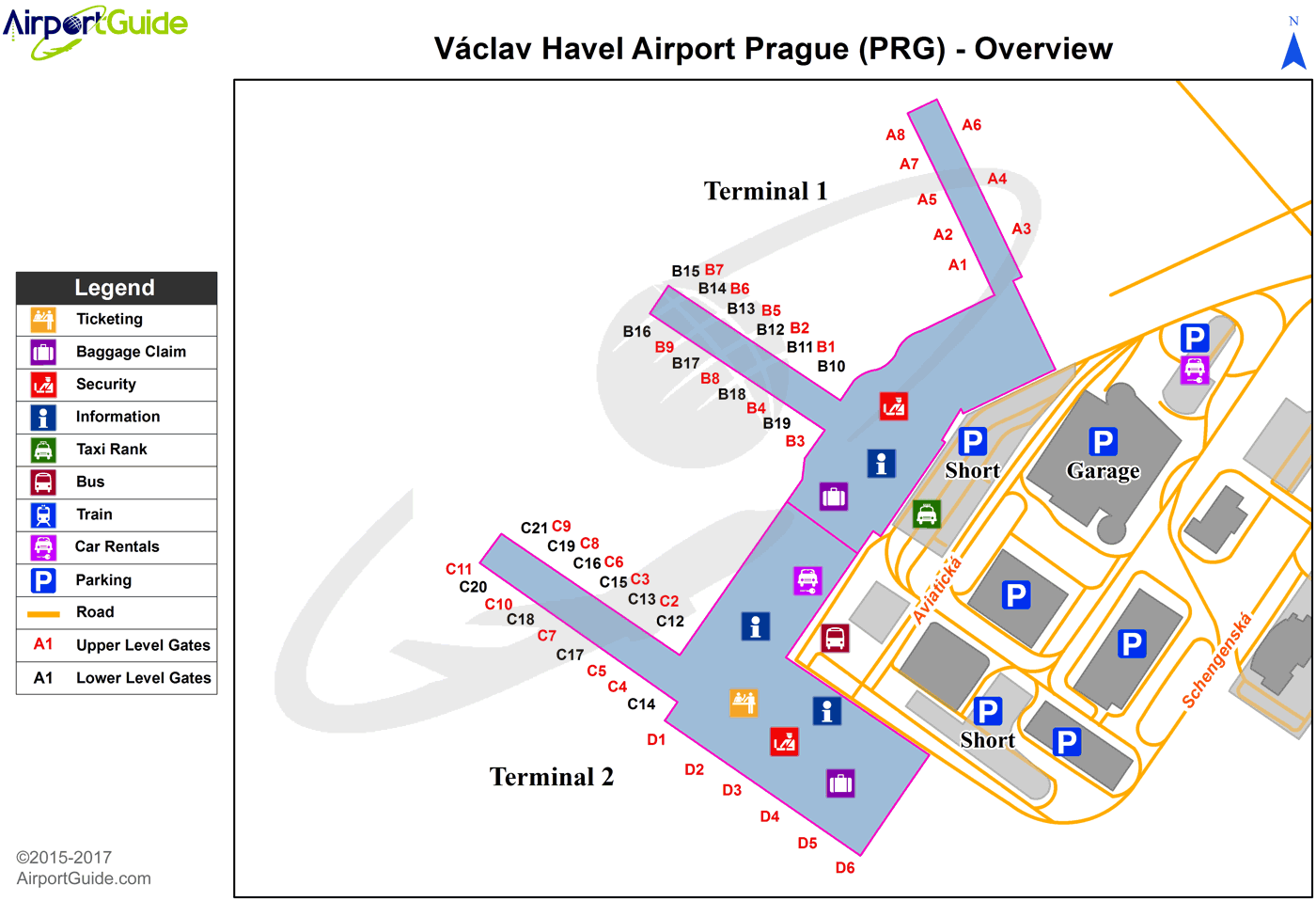 Prague - Václav Havel (PRG) Airport Terminal Map - Overview