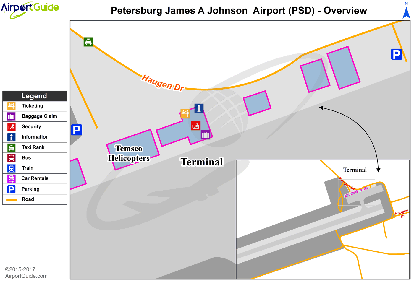Petersburg - Petersburg James A Johnson (PSG) Airport Terminal Map - Overview