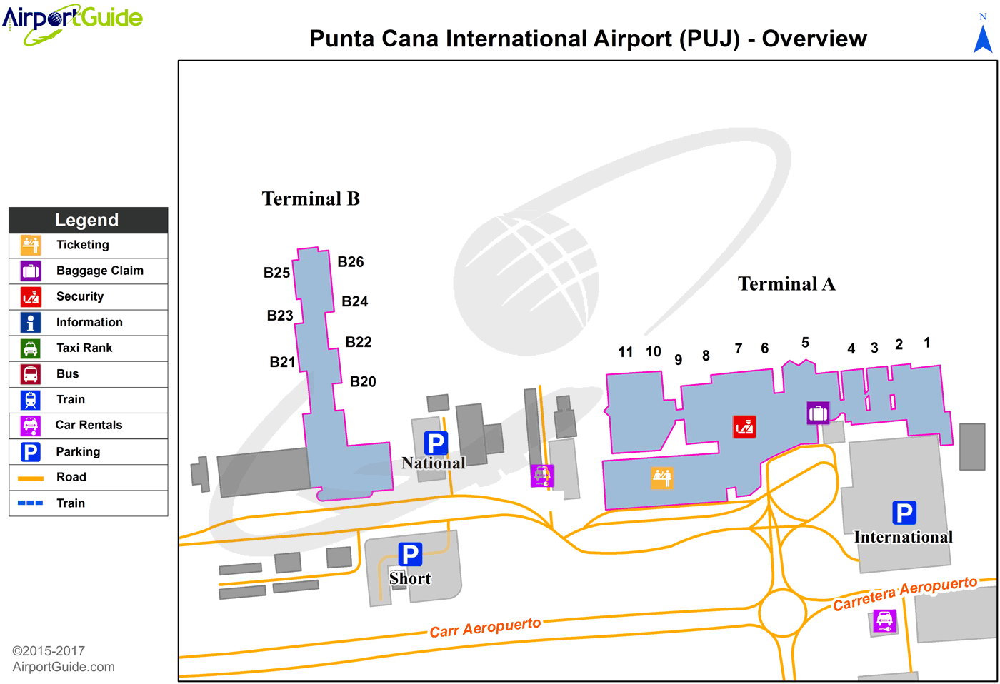 Punta Cana - Punta Cana International (PUJ) Airport Terminal Map - Overview
