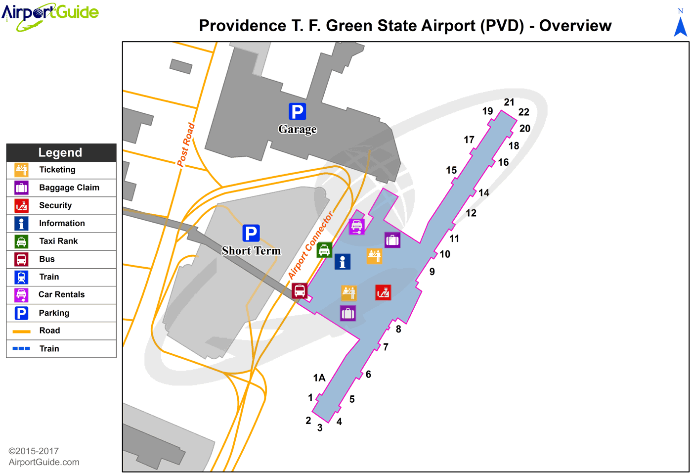 Providence - Theodore Francis Green State (PVD) Airport Terminal Map - Overview