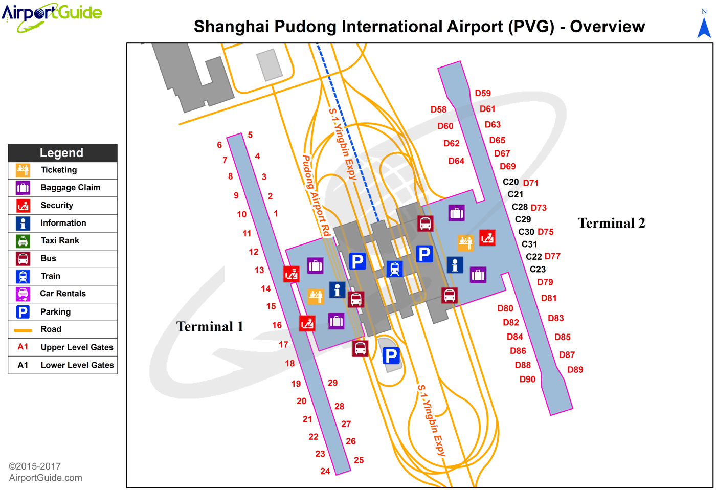 Shanghai - Shanghai Pudong International (PVG) Airport Terminal Map - Overview