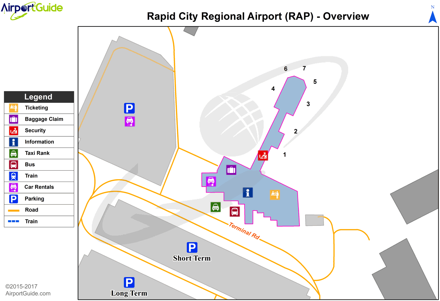 Rapid City - Rapid City Regional (RAP) Airport Terminal Map - Overview