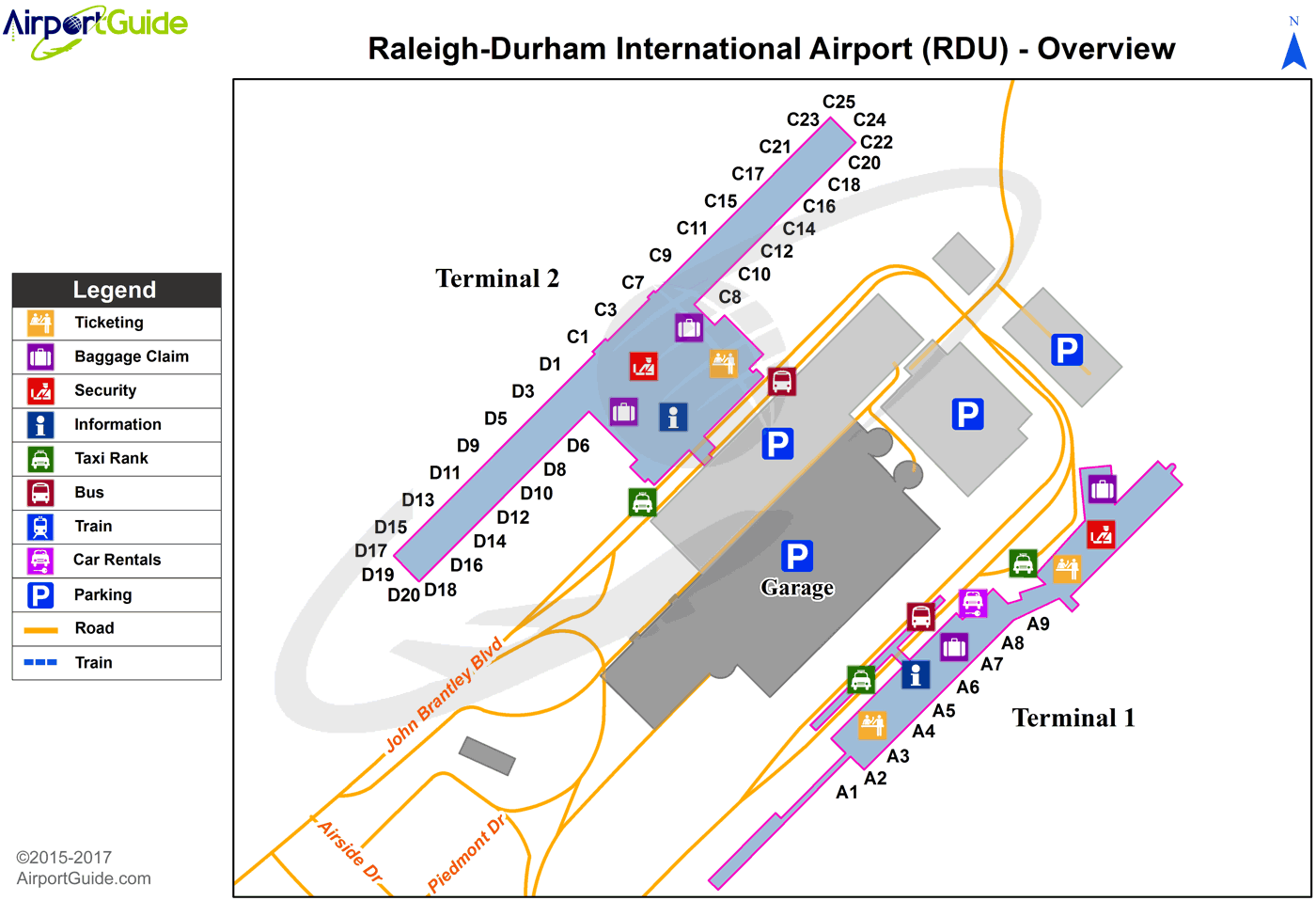 Raleigh/Durham - Raleigh-Durham International (RDU) Airport Terminal Map - Overview