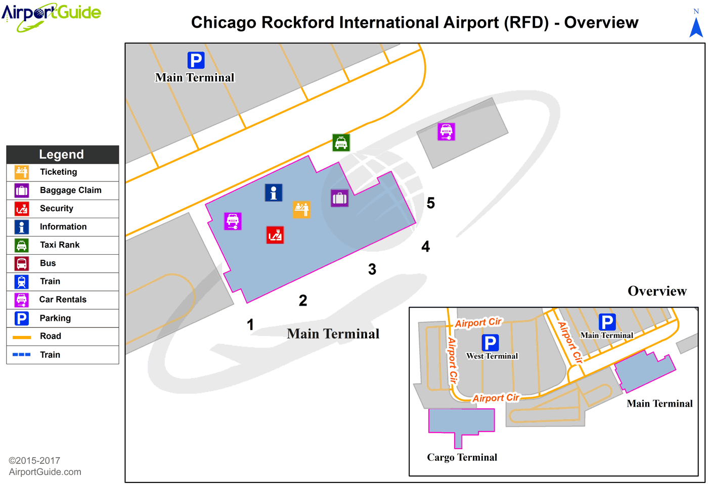 Chicago/Rockford - Chicago/Rockford International (RFD) Airport Terminal Map - Overview