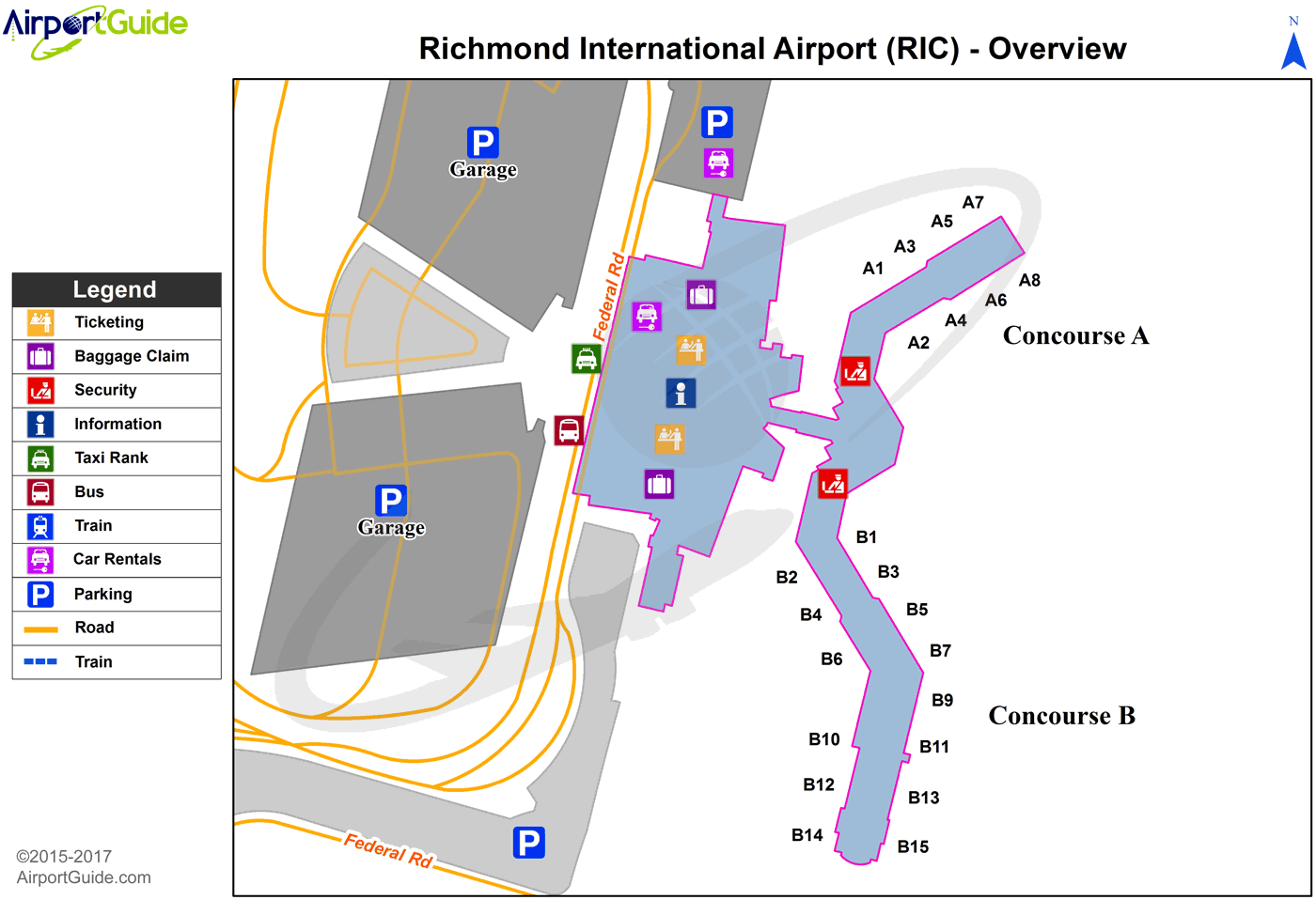 Richmond - Richmond International (RIC) Airport Terminal Map - Overview