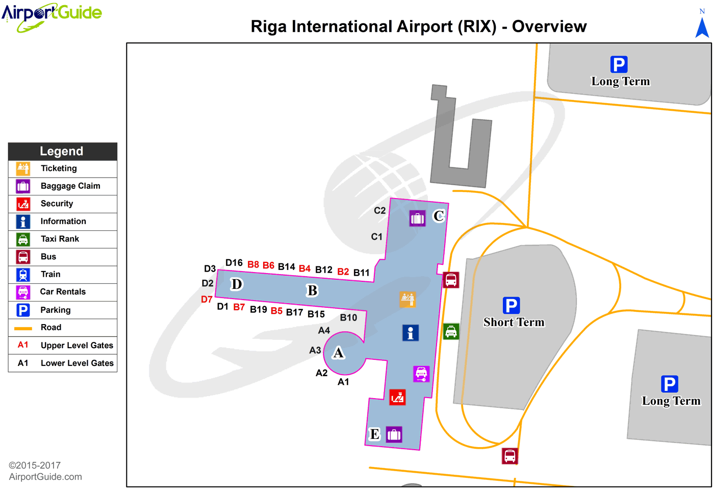 Riga - Riga International (RIX) Airport Terminal Map - Overview